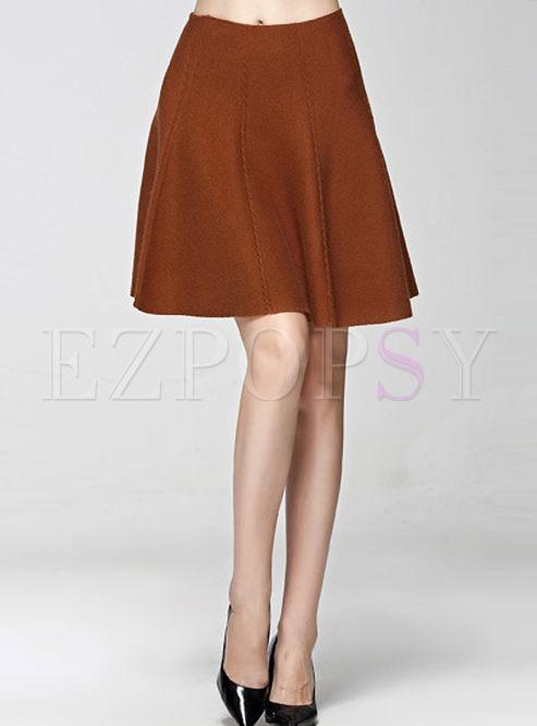 Casual A-line Falbala Knit Skirt | Ezpopsy.com