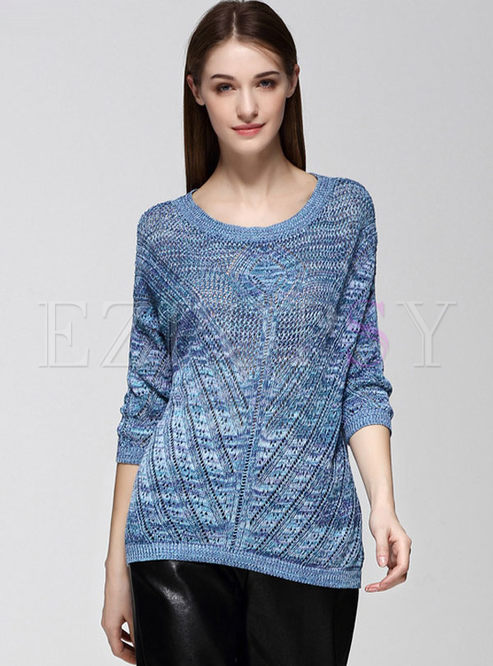 Casual Asymmetric Hollow Out Knit Sweater
