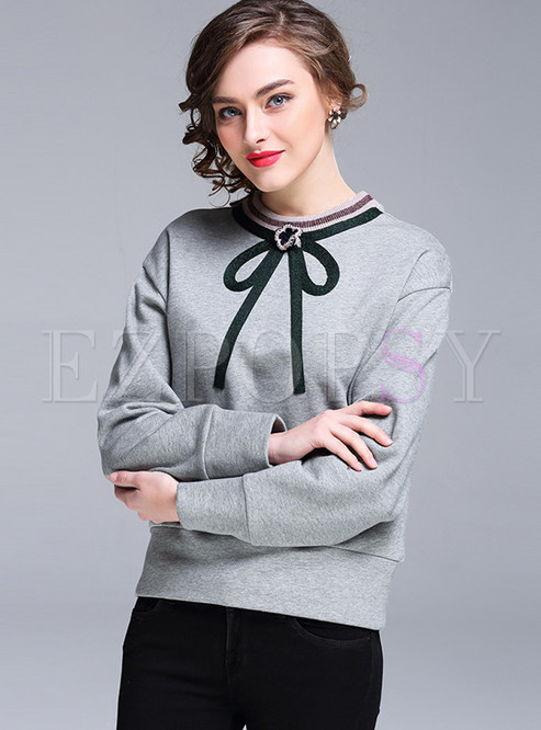 Fashion Cotton Bowknot Patch Loose Hoodies
