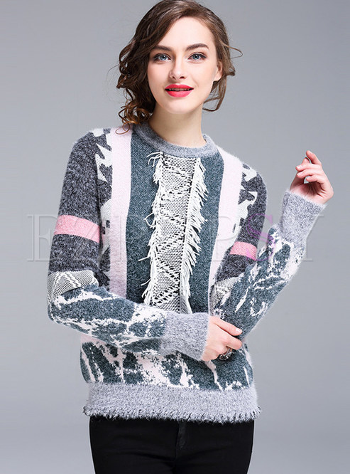 Fashion Stripe Hit Color Sweater