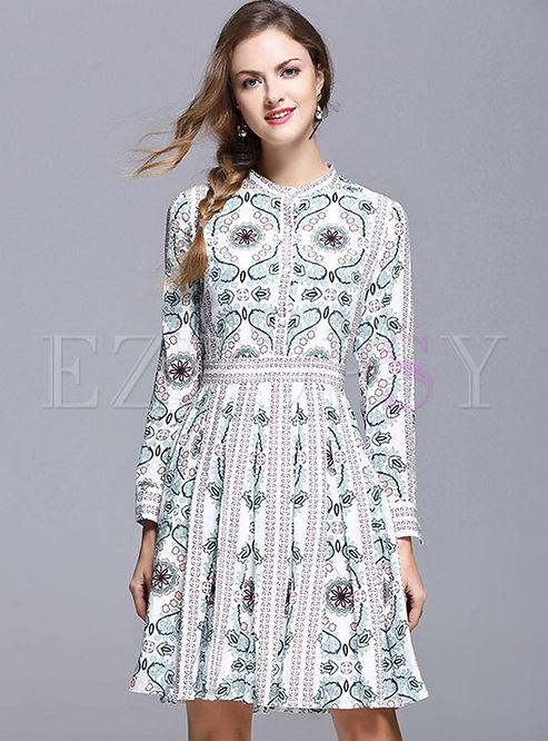 Ethnic Nipped Waist Print Big Hem Skater Dress