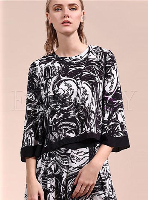 Fashionable 3/4 Sleeve Print Silk T-shirt