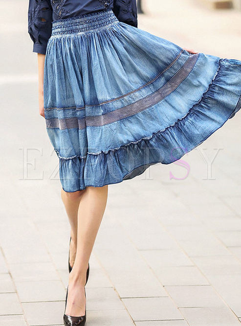 Skirts Skirts Stylish Elastic Waist Falbala Denim Skirt