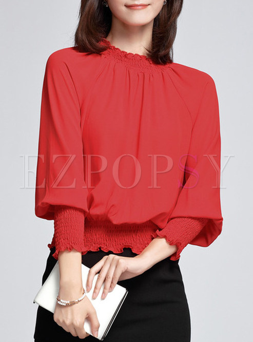 Fashion Loose Pure Color Blouse