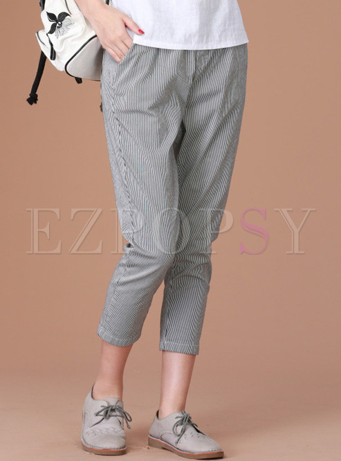 Casual Mid-Calf Striped Loose Pencil Pants