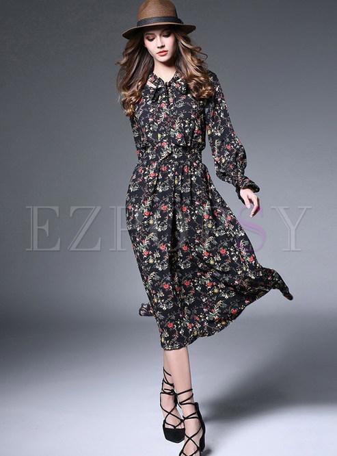 Fashion Print A-line Chiffon Maxi Dress