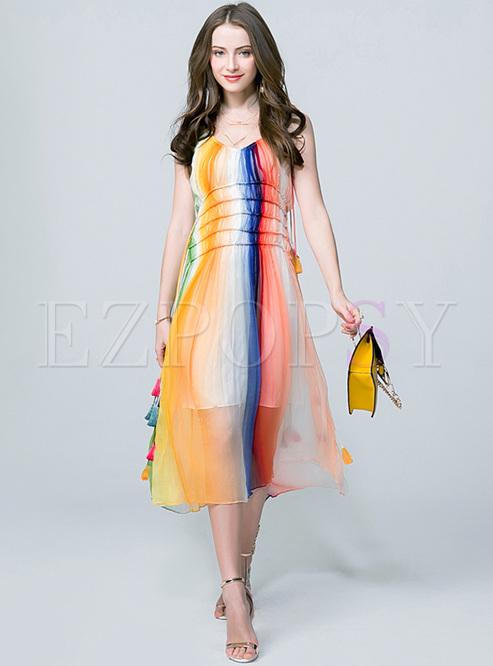 Chic Colorful High Waist Maxi Dress
