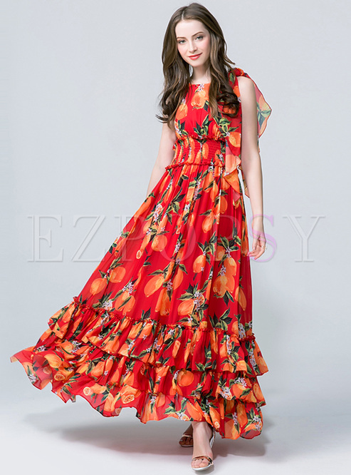 Bohemia Fruit Print High Waist Maxi Dress
