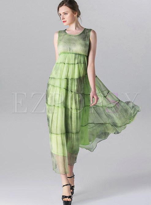 Sweet O-neck High Waist Maxi Dress