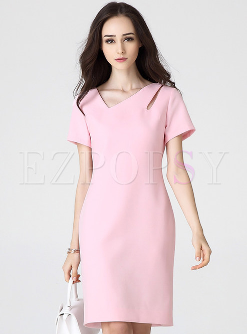 7c7aee60cf7a Bodycon Dresses.   Sexy V-Neck Short Sleeve Pink ...