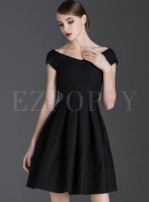Dresses Skater Dresses Elegant Black V Neck High Waist Skater Dress