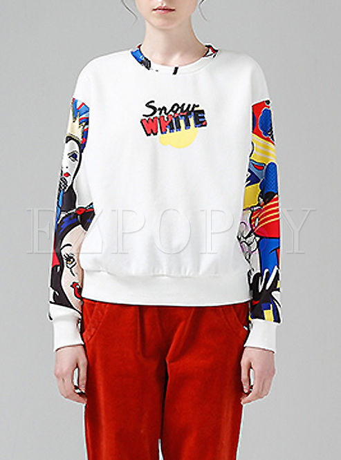Fashionable Hit Color Cartoon Print Sweatshirt
