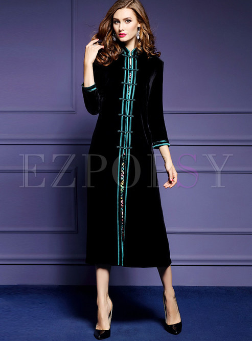 Ethnic Stand Collar Coat & Print Sleeveless Dress