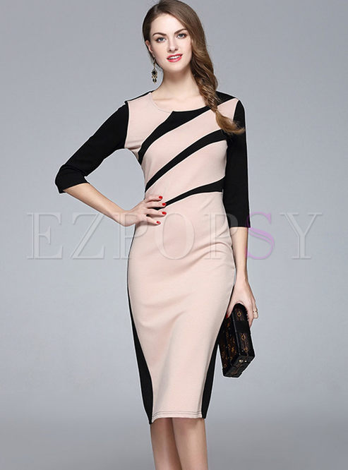 Brief OL Hit Color Patchwork Bodycon Dress