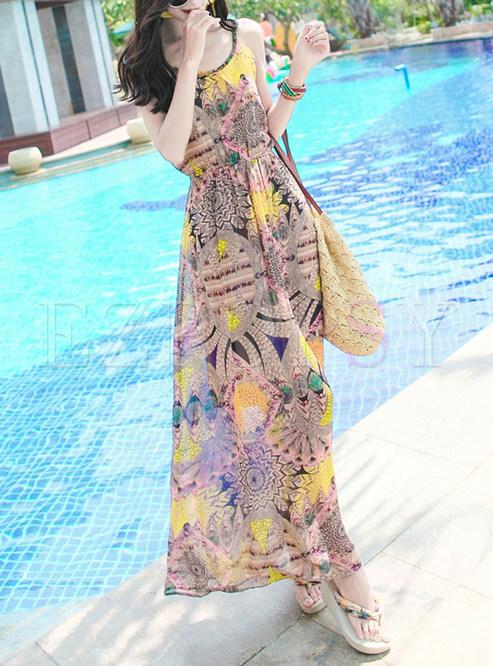 Fashion Chiffon Sleeveless High Waist Maxi Dress