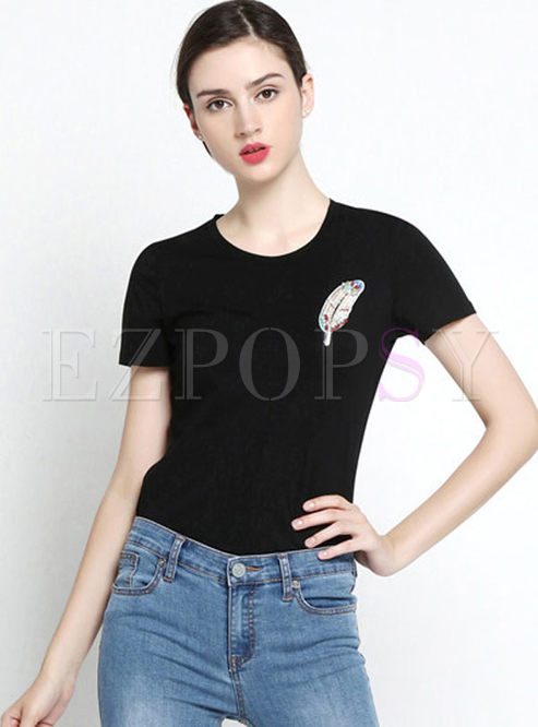 Brief O-neck Short Sleeve Leaf T-shirt