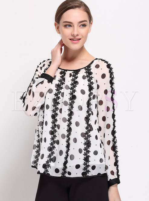 Fashion O-neck Dot T-Shirt