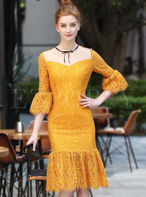 Elegant Lace Mesh Patch Slim Mermaid Dress