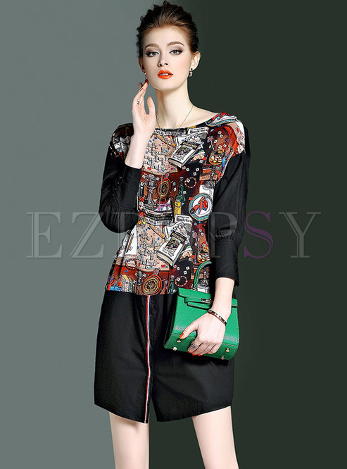 Stylish Floral Print Split Lantern Sleeve Shift Dress