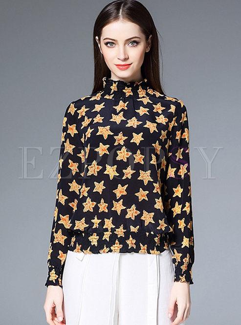High-end Star Print Long Sleeve Silk T-shirt