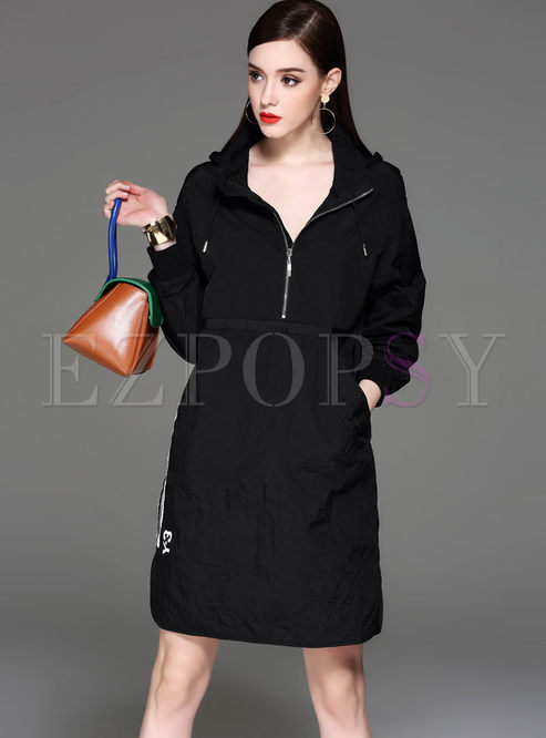 Casual Loose Long Sleeve Hooded Shift Dress
