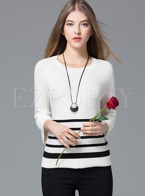 Brief Hit Color Stripe Knit T-shirt