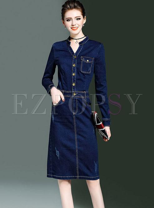 2a6aaf1e3e Bodycon Dresses.   Stylish Long Sleeve V-neck Denim ...