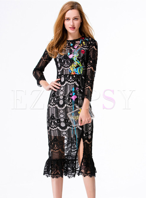 Sexy Embroidery Hollow Split Bodycon Dress