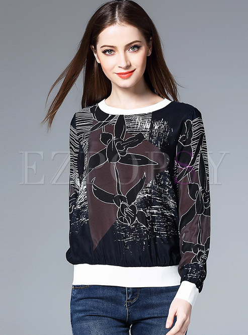 Fashion O-neck Print T-shirt