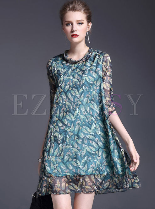 Fashionable 3/4 Sleeve Print Shift Dress