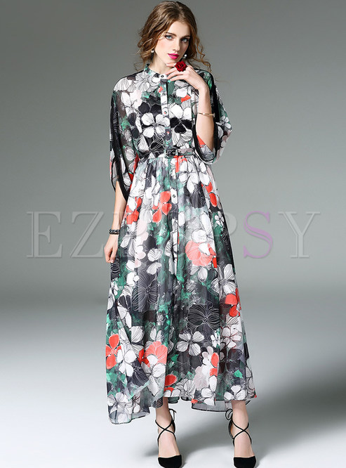 Bohemian Big Hem Print Half Sleeve Maxi Dress