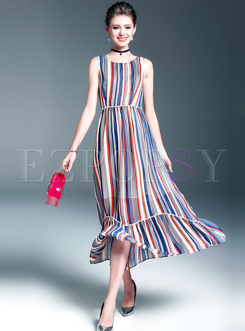 Sexy Sleeveless Stripe High Waist Maxi Dress