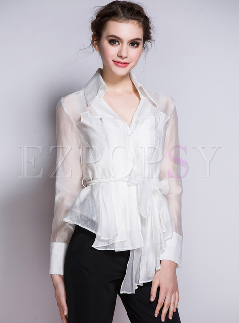 Bowknot Transparent Asymmetric Lapel Blouse