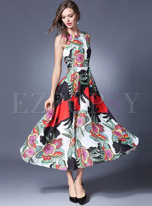 Elegant High Waist Sleeveless Maxi Dress