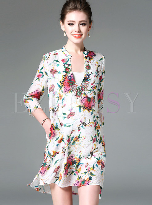 Fashion V-neck Three Quarters Sleeve Shift Dress