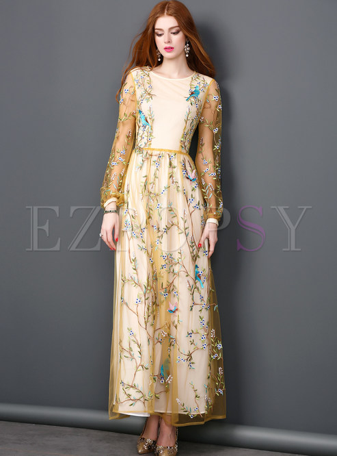 Vintage Mesh Embroidery Lace Tight Waist Maxi Dress | Ezpopsy.com