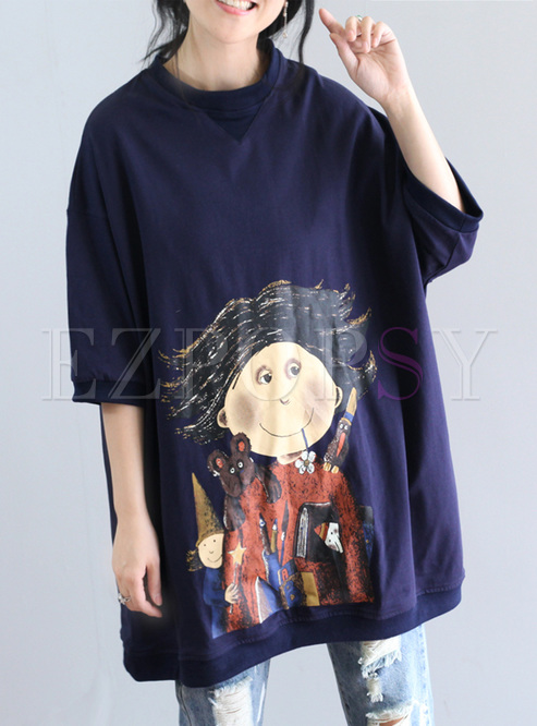 Oversized Cartoon Print Long T-shirt