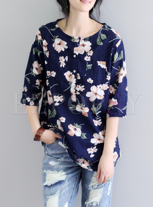 Fashion Flower Print Asymmetric T-shirt