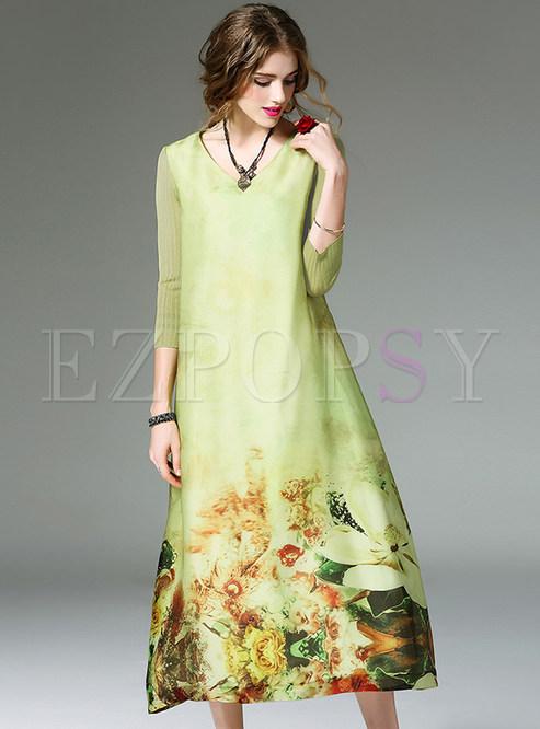 Ethnic Loose V-neck Print Maxi Dress   Ezpopsy.com