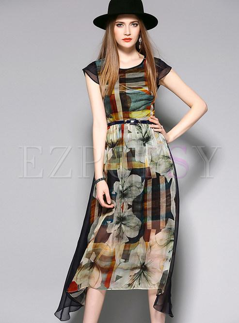 Vintage O-neck High Waist Maxi Dress