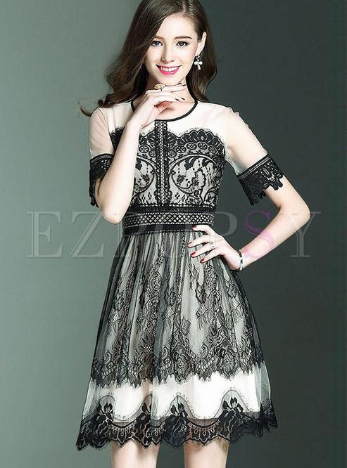 6542c684bf45 Skater Dresses.   Fashion O-neck Short Sleeve Lace Skater Dress