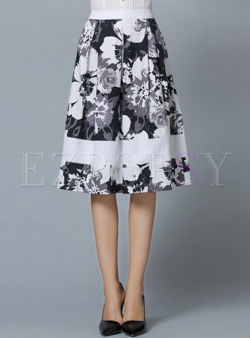 Casual Floral Print A-Line Skirt | Ezpopsy.com