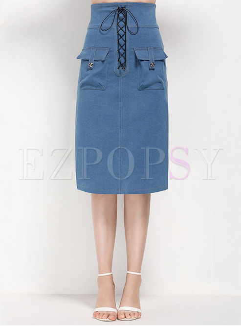 High Waisted Drawstring Knee-length Skirt