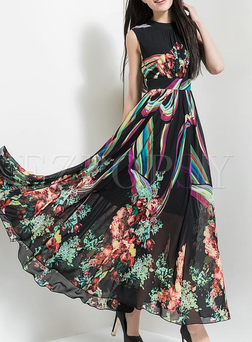 Vintage Floral Print High Waist Maxi Dress
