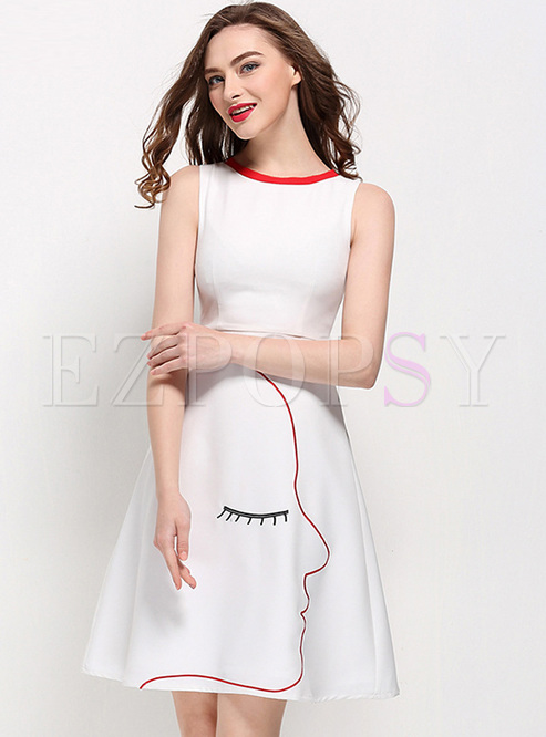 Chic Mask Print Sleeveless A-line Dress