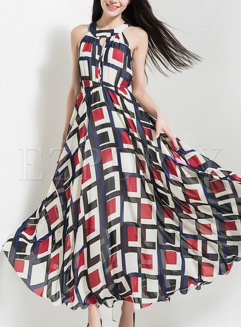 Chic Grid Print High Waist Maxi Dress