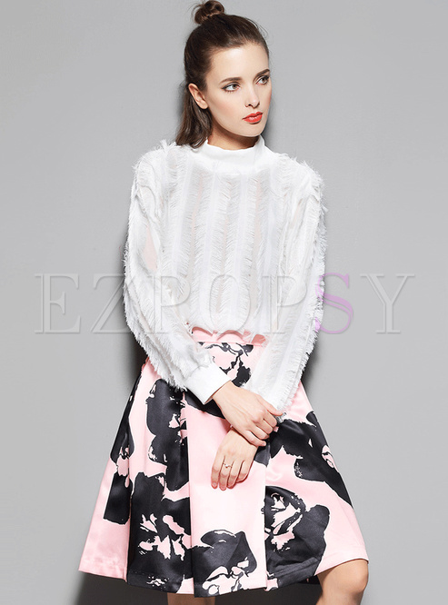 Stand Collar Long Sleeve Blouse & Floral Print Skirt