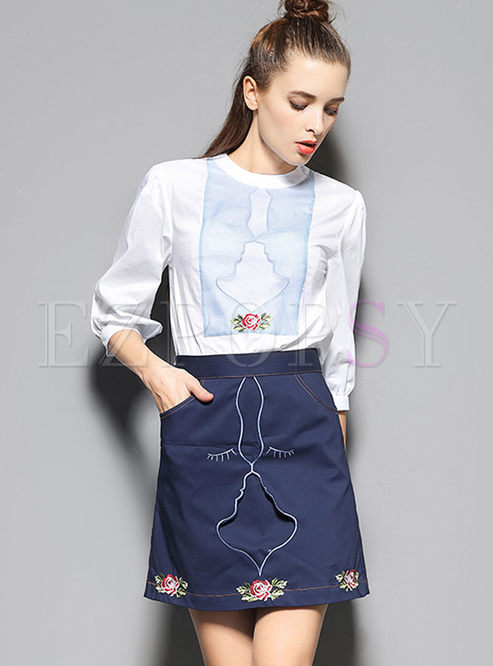 Cartoon Print Lantern Sleeve Blouse & Embroidered Skirt