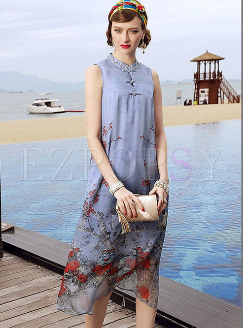 Vintage Stand Collar Chiffon Print Shift Dress