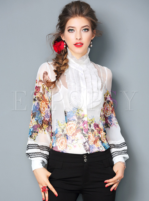 Lantern Sleeve Non-locating Print Falbala Blouse